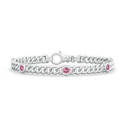 Bezel-Set Pink Tourmaline Curb Chain Link Bracelet
