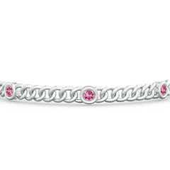 Toggle Bezel-Set Pink Tourmaline Curb Chain Link Bracelet