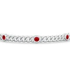 Bezel Set Curb Chain Link Ruby Bracelet