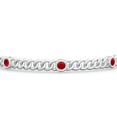 Toggle Bezel-Set Ruby Curb Chain Link Bracelet