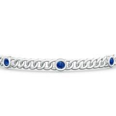 Bezel Set Curb Chain Link Blue Sapphire Bracelet