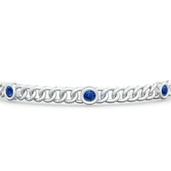 Toggle Bezel-Set Blue Sapphire Curb Chain Link Bracelet