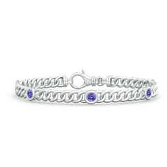 Bezel Set Curb Chain Link Tanzanite Bracelet