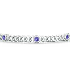 Toggle Bezel-Set Tanzanite Curb Chain Link Bracelet