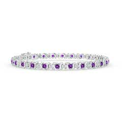 S Curl Amethyst and Diamond Tennis Bracelet