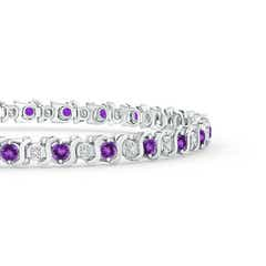 Toggle S Curl Amethyst and Diamond Tennis Bracelet