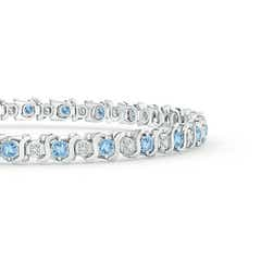 Toggle S Curl Aquamarine and Diamond Tennis Bracelet