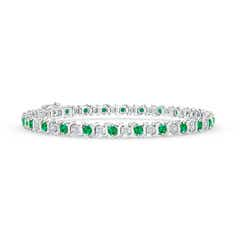 S Curl Emerald and Diamond Tennis Bracelet