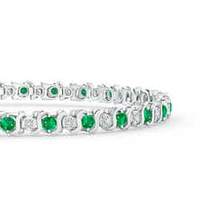 Toggle S Curl Emerald and Diamond Tennis Bracelet