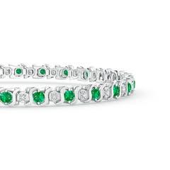 Toggle S Curl Emerald and Diamond Tennis Bracelet