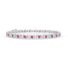 S Curl Pink Sapphire and Diamond Tennis Bracelet