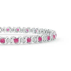 Toggle S Curl Pink Sapphire and Diamond Tennis Bracelet