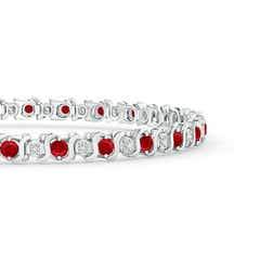 Toggle S Curl Ruby and Diamond Tennis Bracelet