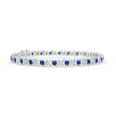 S Curl Sapphire and Diamond Tennis Bracelet