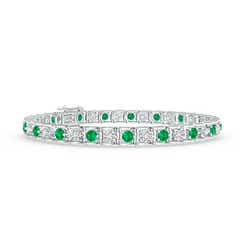 Diamond and Emerald Scooped Link Tennis Bracelet