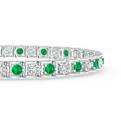 Toggle Diamond and Emerald Scooped Link Tennis Bracelet