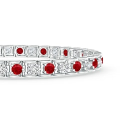 Toggle Diamond and Ruby Scooped Link Tennis Bracelet