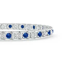 Toggle Diamond and Sapphire Scooped Link Tennis Bracelet