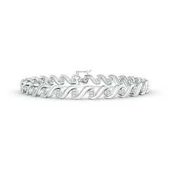 S Swirl Link Illusion Diamond Tennis Bracelet
