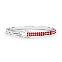 Ruby Encrusted Interlocking Love Knot Bracelet