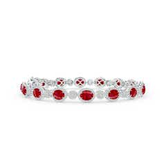 Claw Set Oval Halo Ruby and Diamond Tennis Bracelet