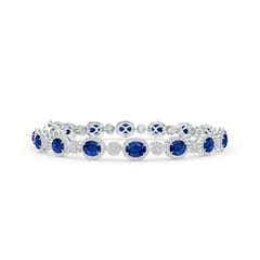 Claw Set Oval Halo Sapphire and Diamond Tennis Bracelet
