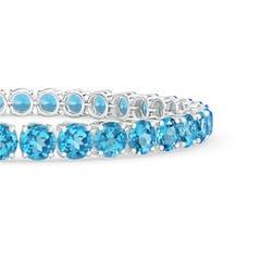 Classic Prong Set Linear Swiss Blue Topaz Tennis Bracelet