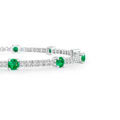 Toggle Diamond and Emerald Station Bracelet