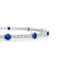 Toggle Diamond and Sapphire Station Bracelet