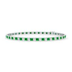 Princess-Cut Diamond and Emerald Tennis Bracelet