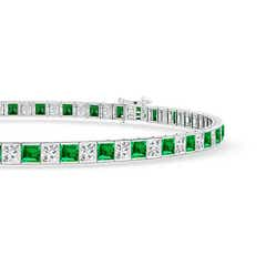 Toggle Princess-Cut Diamond and Emerald Tennis Bracelet