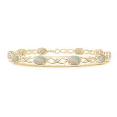 Oval Opal and Diamond Infinity Link Bracelet