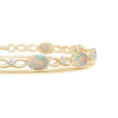 Toggle Oval Opal and Diamond Infinity Link Bracelet