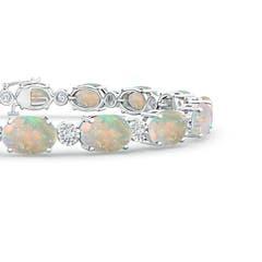 Toggle Oval Opal Tennis Bracelet with Illusion Diamonds