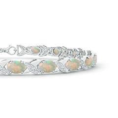Toggle Classic Oval Opal and Diamond XOXO Link Bracelet