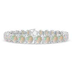 Oval Opal Tennis Bracelet with Swirl Diamond Links