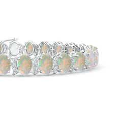 Toggle Oval Opal Tennis Bracelet with Swirl Diamond Links