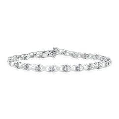 14k White Gold Diamond Hugs And Kisses Bracelet