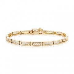 14k Yellow Gold Channel Set Diamond Bar Link Bracelet
