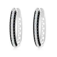 Pave-Set White and Enhanced Black Diamond Hoop Earrings