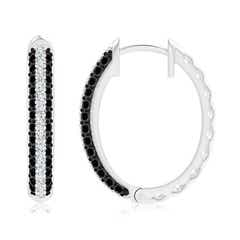 Toggle Pave-Set White and Enhanced Black Diamond Hoop Earrings