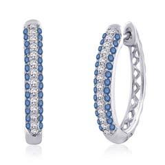 Pave-Set White and Enhanced Blue Diamond Hoop Earrings