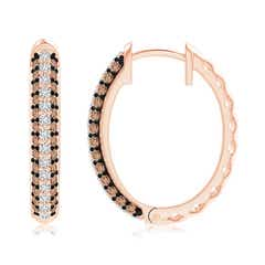 Toggle Pave-Set White and Coffee Diamond Hoop Earrings