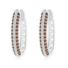 Angara Brown and White Diamond Inside-Out Hoop Earrings in White Gold xKeqi