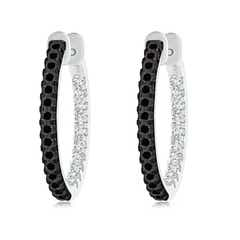 Enhanced Black and White Diamond Inside-Out Hoop Earrings