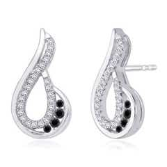 Enhanced Black and White Diamond Paisley Earrings