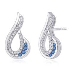 Enhanced Blue and White Diamond Paisley Earrings