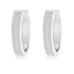 Pave-Set Twin Row Diamond Hinged Hoop Earrings