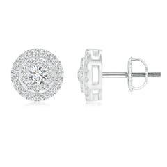 Angara Channel-Set Diamond Flower Stud Earrings with Halo DP40b