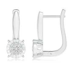 Miracle-Plated Diamond Starburst Hoop Earrings